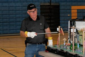 Elementary school students learn electrical safety at Terex Utilities Safety Town assembly