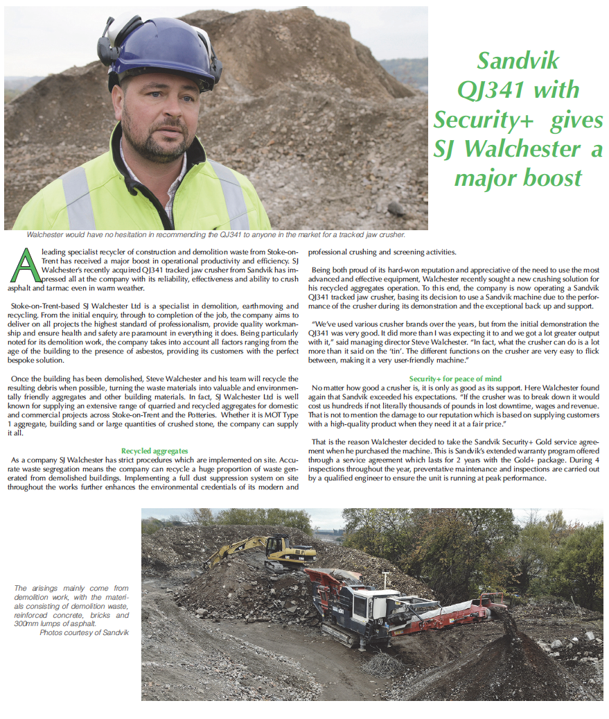 Sandvik QJ341 with Security+ gives SJ Walchester a major boost