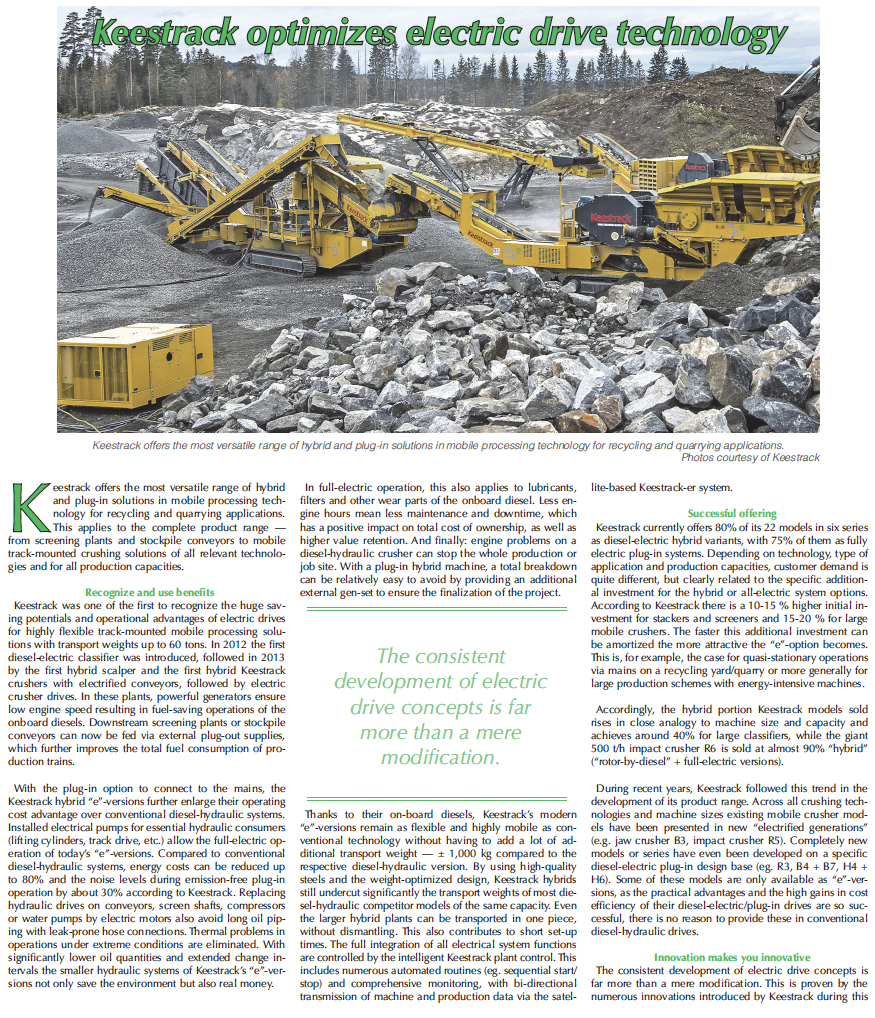 Keestrack optimizes electric drive technology