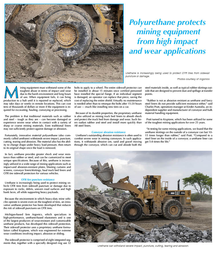 Polyurethane protects  mining equipment  from high impact  and wear applications