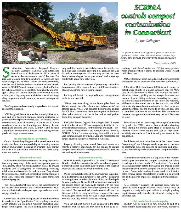 SCRRA controls compost contamination in Connecticut