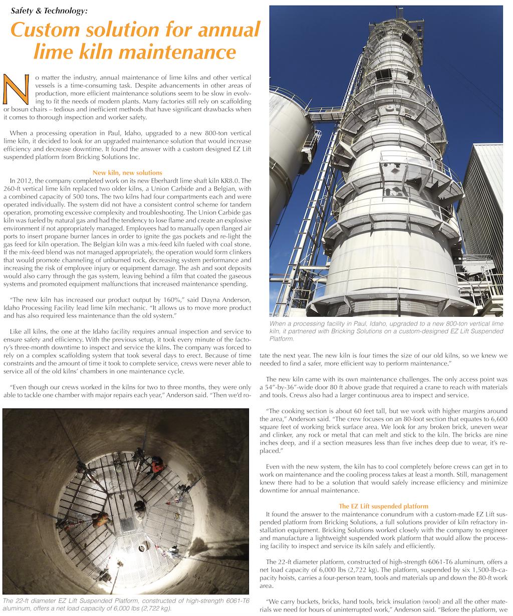 Custom solution for annual lime kiln maintenance